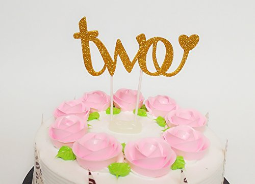 Sweet Heart decorazione per torta per il secondo compleanno scritta Two -/per bambino e bambina color oro