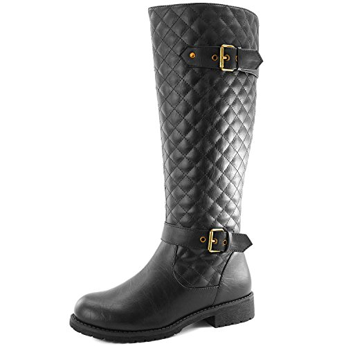 DailyShoes Women's Quilted Round Toe Knee High Combat Rider Mid Calf With Side Pocket - stylishcombatboots.com