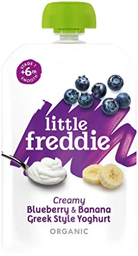 Little Freddie Organic Baby Food – Blueberry & Banana Greek Style Yoghurt Pouch (Pack of 6x100g)