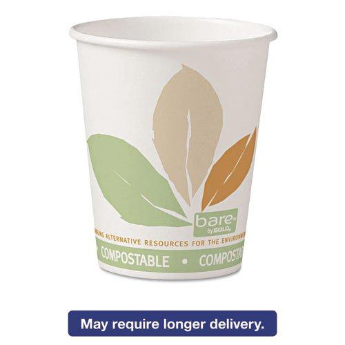 Solo Bare PLA Paper Hot Cups, 10oz, White with Leaf Design, 50/Bag, 20 Bags/Carton 370PLA-J7234