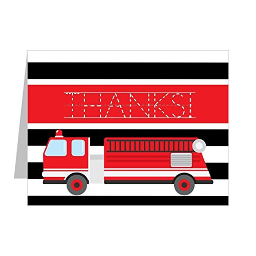 Firetruck Thank You Notes for Kids with Fill in the Blank, ALL CAPITAL Lettering (12 Top-Folding Notes per - Notes Capital