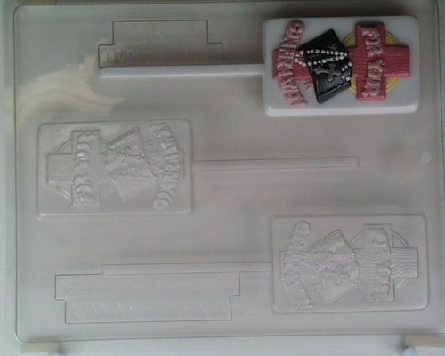 FOR YOUR CONFIRMATION, w/ cross w/ wooden texture & bible R008 Religious Chocolate Candy Mold (Confirmation Chocolate Molds)