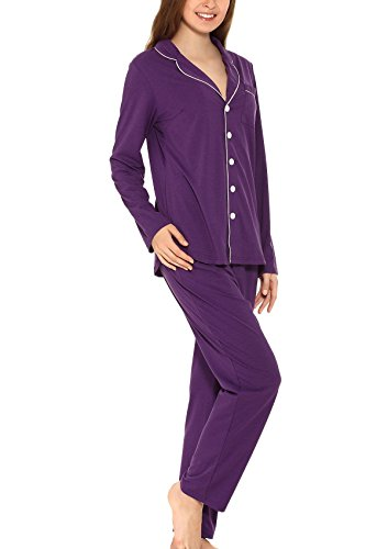 Yulee Women's Button-Up Sleepwear Long Sleeve Pajama Set Pj Top and Pant