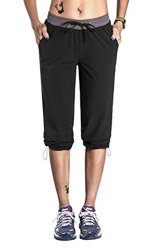 Nonwe Women's Outdoor Quick Dry Jogger Pants Black L/30 Inseam