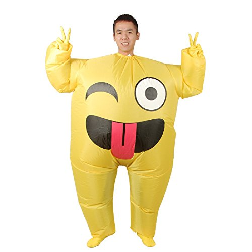 Unisex Adults Emoji Inflatable Costume Halloween Blow up Fancy Dress (Smile) -