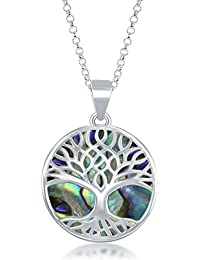 Sterling Silver Natural Stone Tree of Life Circle Pendant...