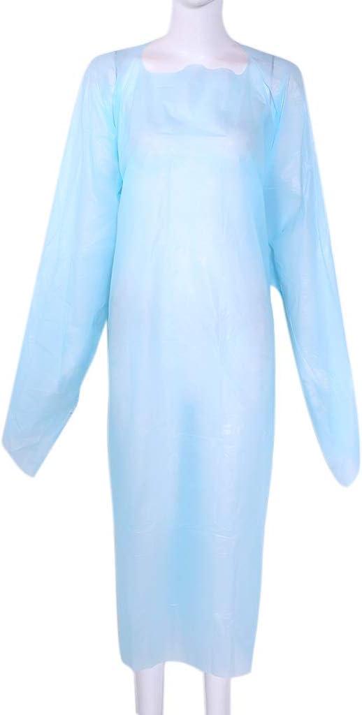 BIlinli Bata de Aislamiento desechable Azul de 10 Paquetes Ropa de ...