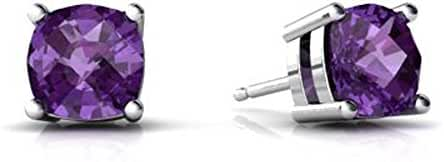 4MM-8MM Sterling Silver FEBRUARY PURPLE Simulated AMETHYST ROUND Stud Earrings