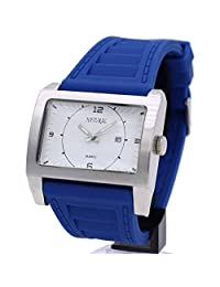 Alexis Unisex Analog Quartz Rectangular Watch Japan Miyota 2115 Date Movement Blue Soft Silicone Band White Dial Water Resistant Gift Box (Option)
