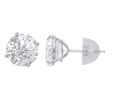 14kt Solid White Gold Superbright Clear Cz Basket Setting Round Pushback Stud Earrings