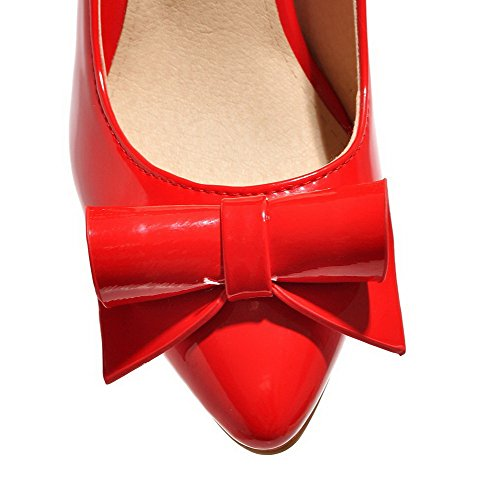 High Closed Pumps Toe Women's Heels Patent Pointed Leather Pull WeiPoot Shoes Solid Red on IzHqwfP