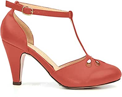 Chase & Chloe New Kimmy-36 Women's Teardrop Cut Out T-Strap Mid Heel Dress Pumps (Coral PU, 5.5 M US)