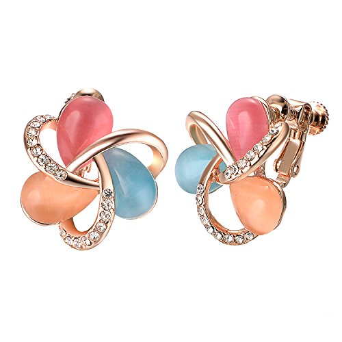 - Yoursfs Screwback Earrings for Women Colorful Crystal Sweet Clip-on Earrings