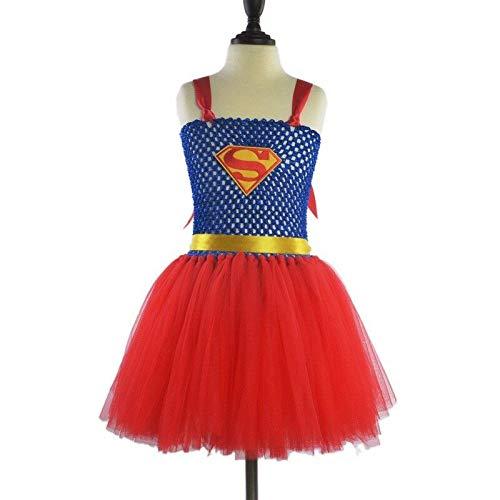 FidgetKute Kids Cosplay Costume Superhero Girl Tutu Dress Classic Fantasy Halloween Party Superman 5 -