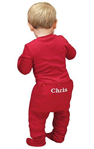 Name Onesie (PajamaGram Personalized Cotton Red Dropseat Sleeper Onesie Pajamas, Red, 0-3MO)