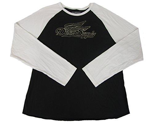 Denim & Supply Ralph Lauren Men's Long-Sleeve Jersey Graphic Baseball Shirt (XXL, (Ralph Lauren Black Denim)