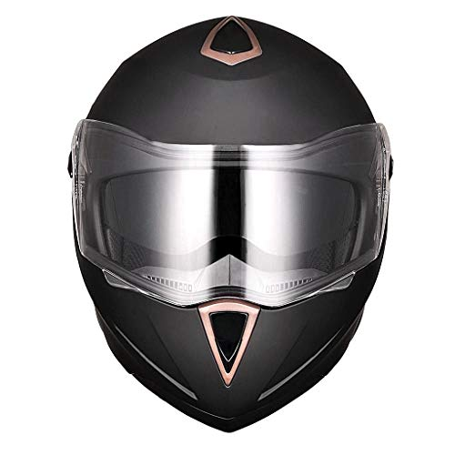 Allbest2you Motorcycle Helmet Full Face Flip Up Dual Visor Bike Motocross Racing Matt Black XL