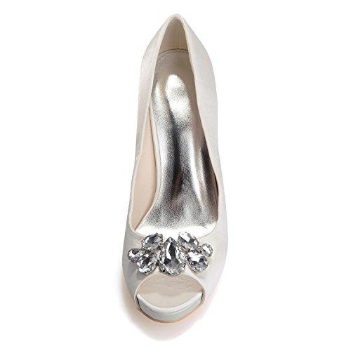 L@YC Zapatos De Boda Para Mujer 6041-02 Peep Toe Seda Tacones altos / Rhinestone De Encaje / PersonalizacióN De Gran TamañO Red