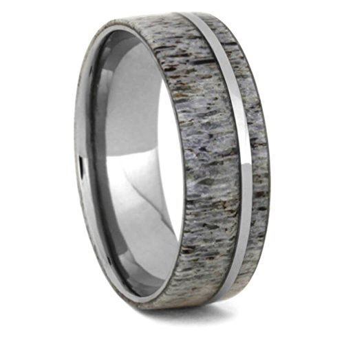 Deer Antler 8mm Comfort-Fit Titanium Wedding Band, Size 12.75 by The Men's Jewelry Store (Unisex Jewelry)