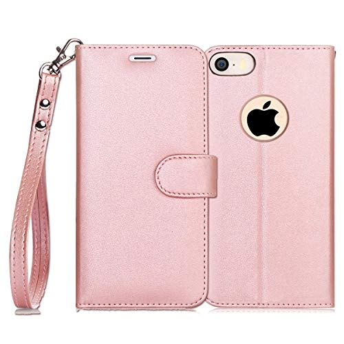 FYY Case for iPhone SE/iPhone 5S/iPhone 5, [Kickstand Feature] Luxury PU Leather Wallet Case Flip Folio Cover with [Card Slots][Wrist Strap] for iPhone SE/iPhone 5S/iPhone 5-Rose Gold (Iphone 5s Top Cases)