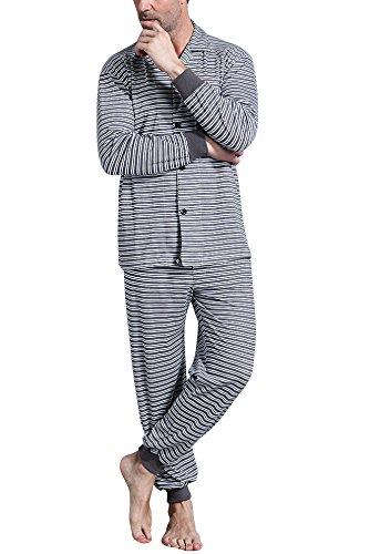 Pantaloni Soft Smooth Lunga Uomo Nero Pigiama Collare Pocket Con Camicia Primavera Controllare amp; Pigiama Dolamen Coppie Cotone Bottoni Per Notte Da Xw7q8B0