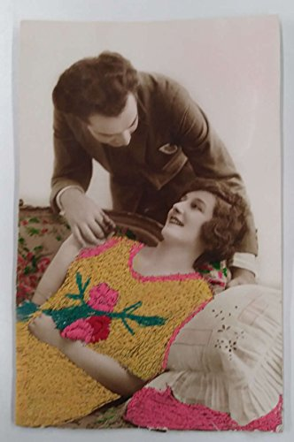 Romance Lady and Man Woven Silk Embroidered Tinted Real Photo Postcard ()