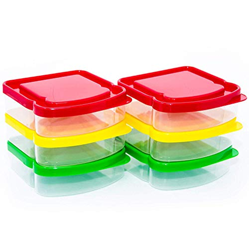 Sandwich Containers-6 Pack-Durable Plastic Sandwich Box-Reusable Sandwich Containers with Lids-Small Lunch Box for Snacks-School Breakfast-Lunch Sandwich Holder-Sandwich Keeper Case for Kids