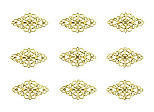 - 40pcs Filigree Flower Plate Charms,Hollowed-out Rhombic Pendant Connector for DIY Jewelry Making Wrapping Accessories By Alimitopia(Golden Tone)