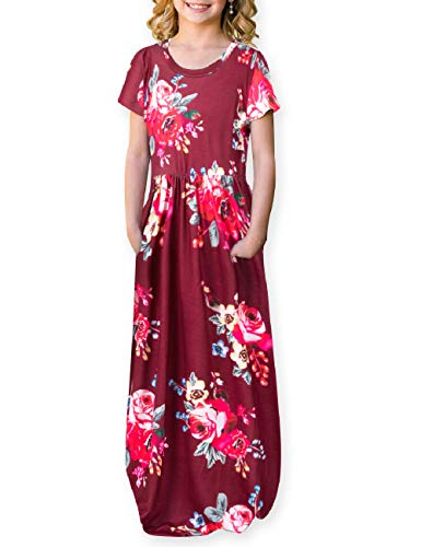 (Kids Floral Maxi Dress Girls Summer Casual Pocket Long T-Shirt Short Sleeve for Kids,Wine,8 Year)