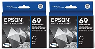 Genuine Epson 69 (T069120) DURABrite Ultra Black Ink Cartridge 2-Pack
