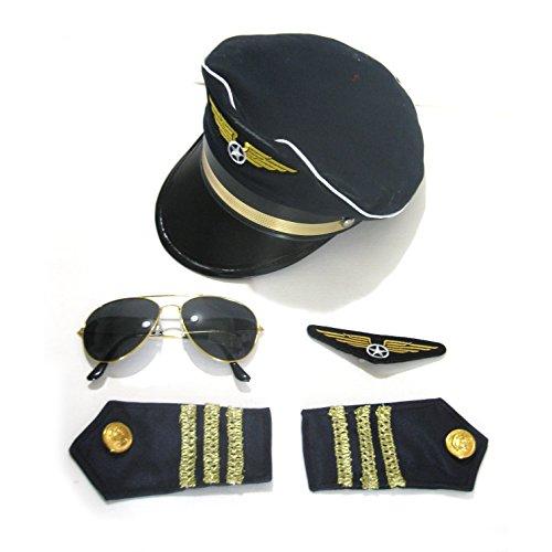 Airline Pilot Captain Adult Costume Kit - Hat, Epaulets, Sunglasses, Badge