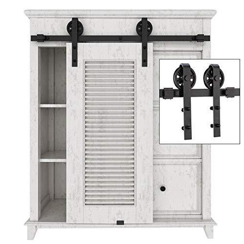 EaseLife 3.3 FT Cabinet Mini Sliding Barn Door Hardware Kit - Ultra Sturdy - Heavy Duty - Big Wheel - Slide Smooth Quiet - Apply for Wardrobe Window TV Stand Closet - 3.3FT Track Single Door Kit