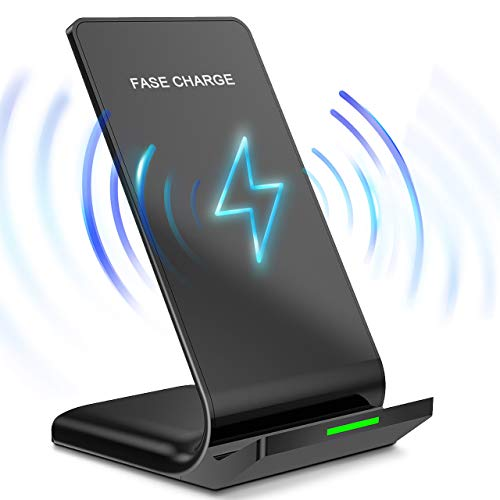 Wireless Charger, Chrise QI Certified Wireless Charger Pad Compatible with Samsung Mobile Phone Apple Mobile Phone Wireless Charger Dual Coil Vertical Desktop Fast ()