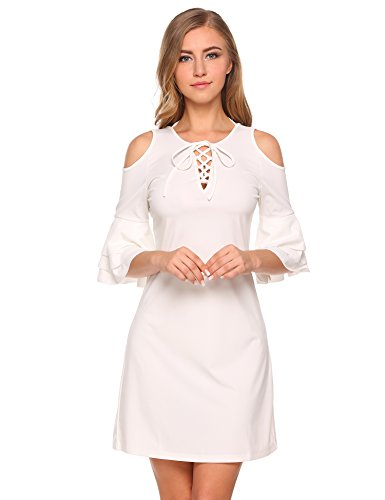 Finejo Women Autumn Sexy Open Back Halter Tie Ccold Shoulder Ruffle Sleeve Mini Pleated Small Size Dress (Halter White Apparel)