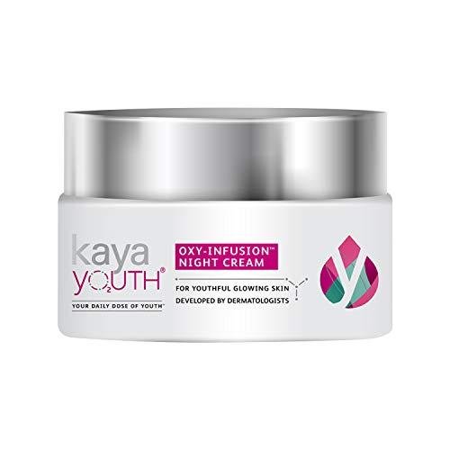 Kaya Youth Oxy-Infusion Night Cream, Boosts Skin Oxygen, Replenishes skin moisture overnight, Gives youthful glowing skin, Developed by Dermatologists, 60 gm
