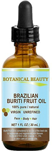 Brazilian BURITI FRUIT OIL 100% Pure / Natural / Cold Pressed Carrier Oil / Undiluted. For Face, Body, Hair, Lip and Nail Care. One the richest natural sources of vitamin A, E and C. From the Amazon Rainforest. (1 fl.oz-30ml.) by Botanical Beauty