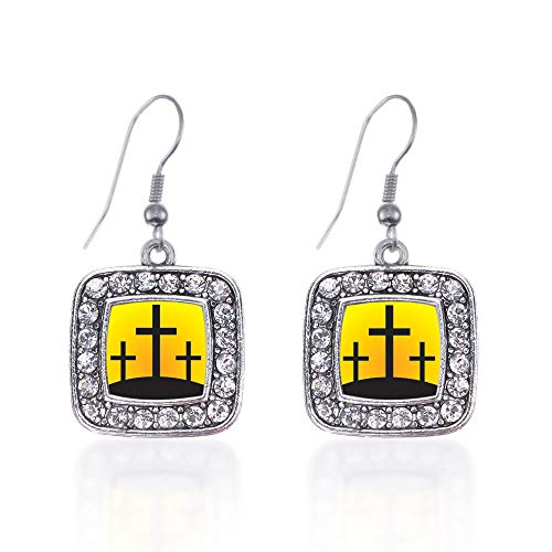 Inspired Silver - Three Crosses Charm Earrings for Women - Silver Square Charm French Hook Drop Earrings with Cubic Zirconia Jewelry (Earrings Hook Cross French)