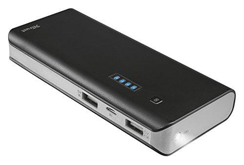 Trust Urban 12500 mAh Smart Powerbank (Hohe kapazität, externer Akku, 1x Smart 2A USB Anschluss und 1x 1A USB Anschluss, geeignet für iPhone 7/7 Plus, 6S/6S Plus, Galaxy S7/S7 Edge, iPad Air 2, Galaxy Tab S2 ua.)