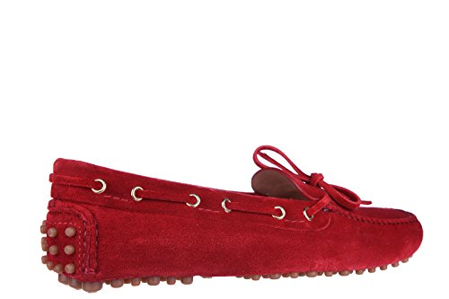 Car Shoe Damen Wildleder Mokassins Slipper Rot