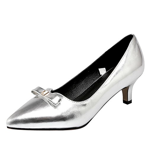 Mee Shoes Damen Kitten-Heels Glattleder Spitz Pumps