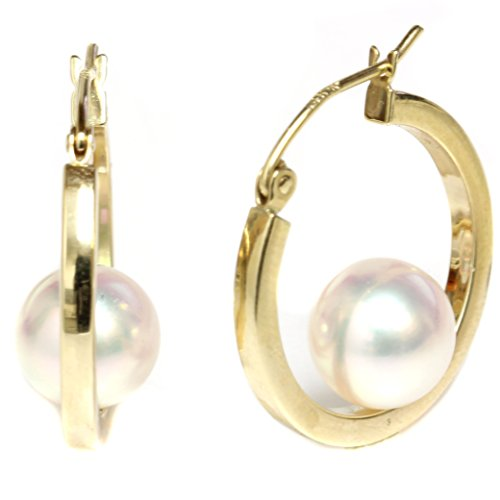 14k Yellow Gold Cultured Saltwater Akoya Pearl Dangle Hoop earrings - AAA and AAA Flawless (8.0-8.5mm Flawless) by Seven Seas Pearls