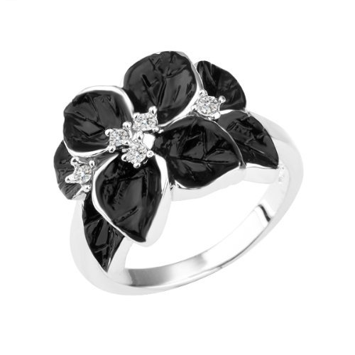 Rhinestone Fashion Ring Flower (Wholesale Alloy Gold-Plated White Gold Color Rhinestone Crystal Black Flower Ring size 8)