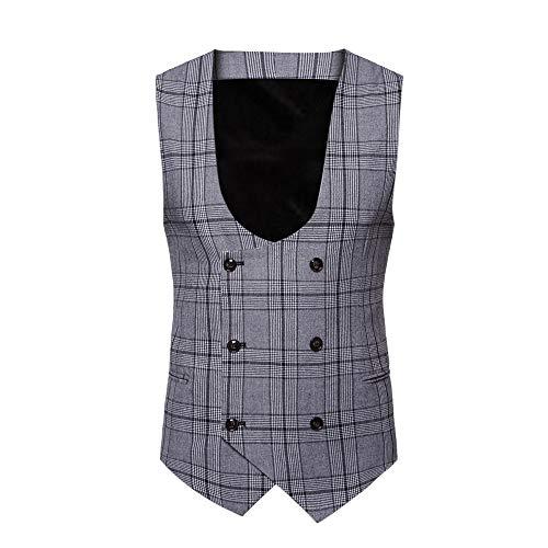 YOcheerful Men Suit Vest Workwear Tank Top Sleeveless Work Wear Office Coat Blouse (B-Gray,L) ()