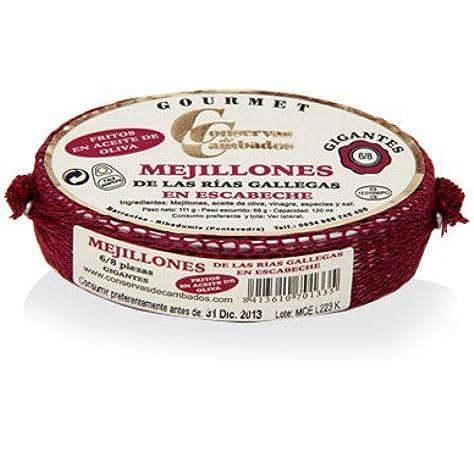 Conservas de Cambados - Mejillones de las rías gallegas en escabeche 6-8 piezas: Amazon.es: Alimentación y bebidas
