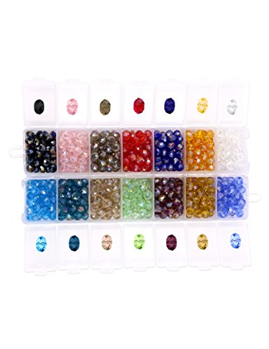 Glass Crystal Beads Clear Rondelle Spacer Beads 6MM Briolette Faceted Assorted Color for Jewelry Making with a Free Container Box(700pcs,14colors),YUANZHIRUN