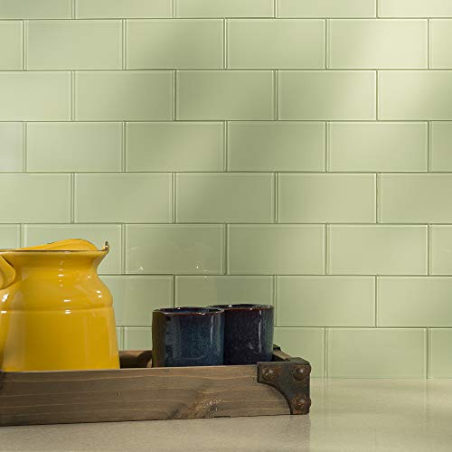 Aspect Peel and Stick Backsplash Kit Fresh Sage Glass Tile for Kitchen and Bathrooms (15 sq ft Kit) by Aspect (Image #2)