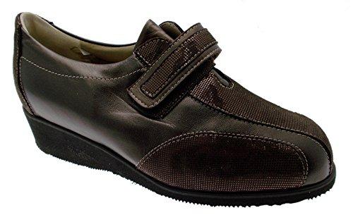 Article L7898 bronze brun grande chaussure orthopédique supplémentaire femme velcro