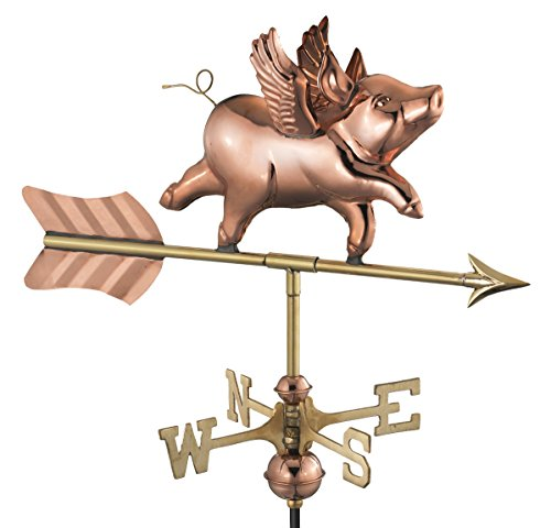 Good Directions 8840PR Flying Pig Cottage Weathervane, Polished Copper with Roof Mount