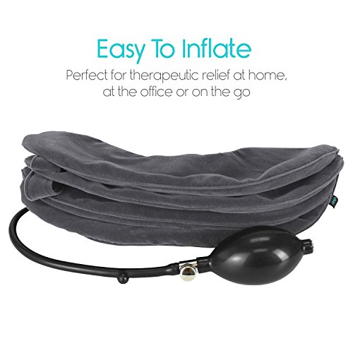 Cervical Neck Traction Pillow by Vive - Inflatable Home Pillow Stretcher Device Unit for Chiropractic Back Pain Relief, Spine Support & Posture - Adjustable Air Pump System for Travel & Stiff Neck by VIVE (Image #4)