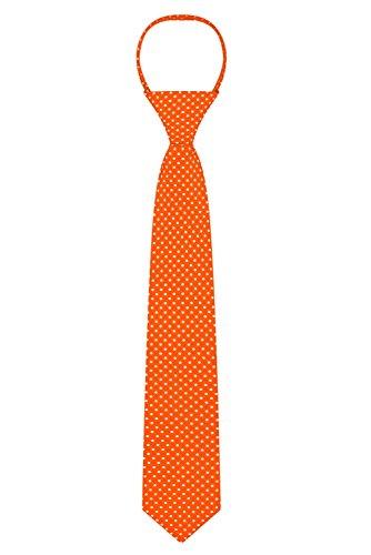 "Jacob Alexander Polka Dot Print Boys 14"" Polka Dotted Zipper Tie - Orange"